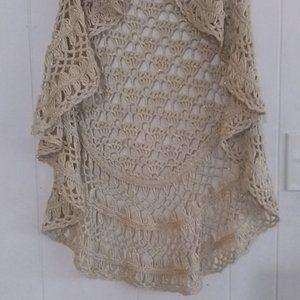 Sioni gold knit open weave crochet shawl
